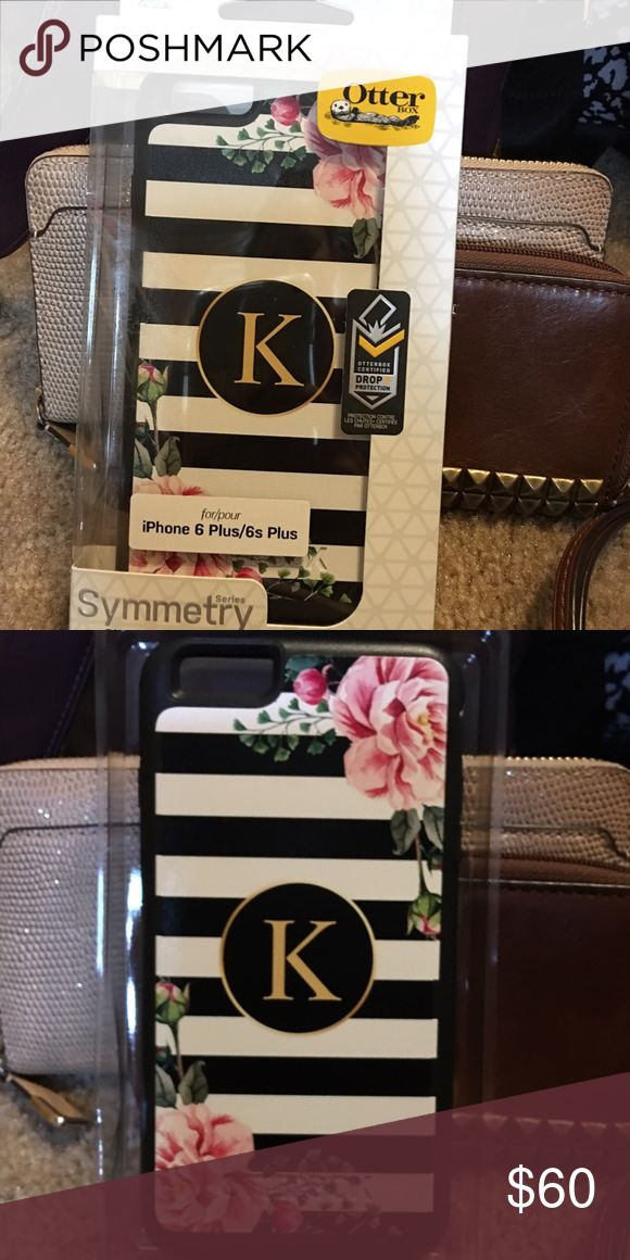 """Monogram iPhone 6 Plus/6S Plus Symmetry Otterbox Super cute case with a monogram """"K"""" on the back. Brand new in box. OtterBox Accessories Phone Cases"""