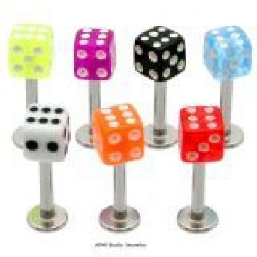 5 16g Dice Labrets/Monroes Lip Rings WHOLESALE Lot BO #Unbranded