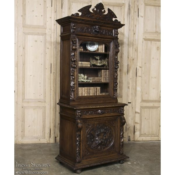 Antique Furniture | Antique Bookcases | 19th Century French Renaissance Carved Bookcase ~ Vitrine | www.inessa.com