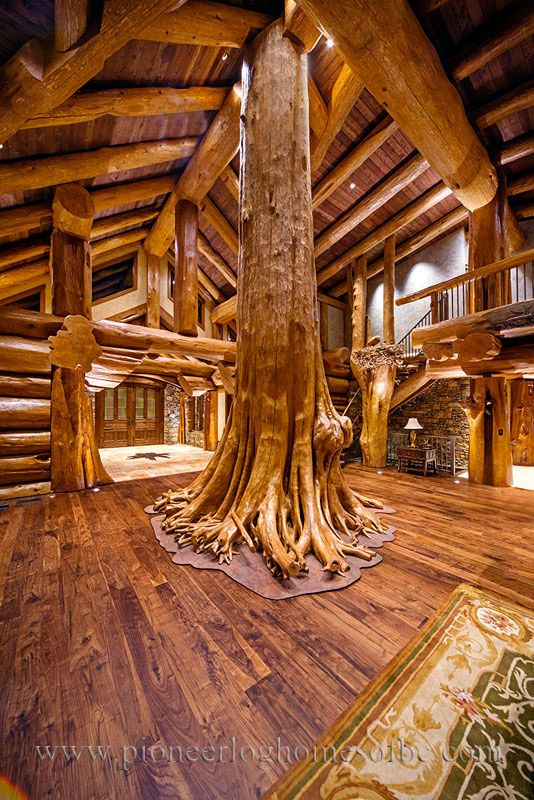 Amazing Ceadar As Family Tree In Great Room. Round Log Post And Beam