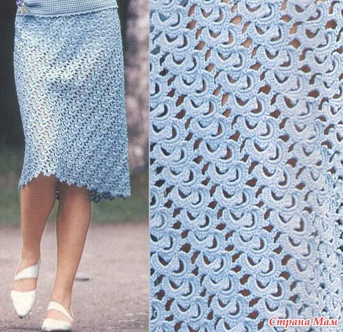 SKIRT IN  STRIP LACE .... graphs included