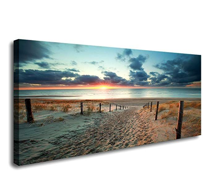 Amazon Com Canvas Wall Art Beach Sunset Ocean Nature Pictures