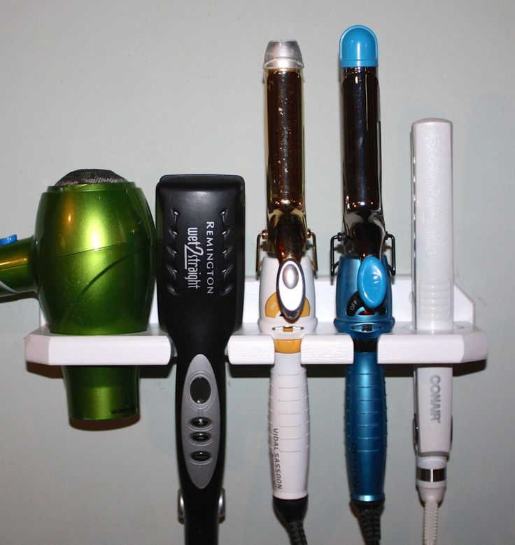 Bathroom Organizer Hair Blow Dryer Straightener Curling Flat Iron Holder Bath Salon Storage 5 HOLE SHELF  DSCCF-E by northwoodscrafts on Etsy https://www.etsy.com/listing/85040036/bathroom-organizer-hair-blow-dryer