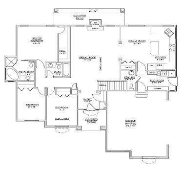 floor plans aflfpw17300 1 story french country home with 3 bedrooms 2 bathrooms and
