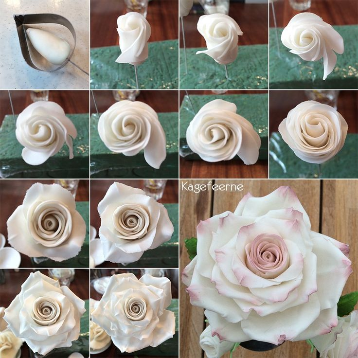 Stor rose i flower paste på tråd, til at pynte oven på kager. Rosen er lavet af enkelt blade, frem for 5-bladede udstikkere.
