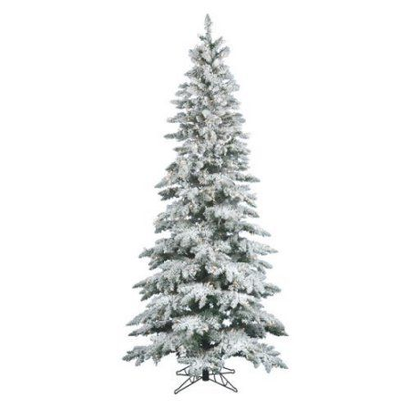 Pre-Lit 6.5' x 39 inch Slim Utica Dura-Lit Artificial Christmas Tree, Flocked White on Green, Clear Lights