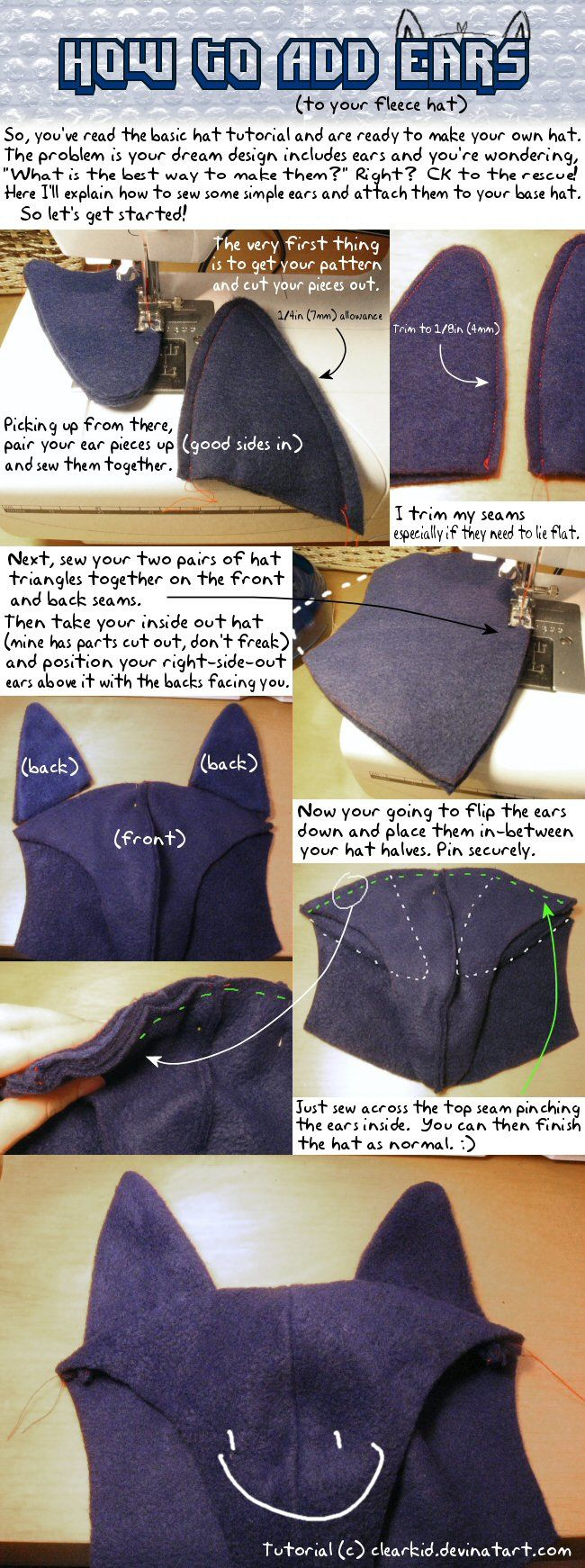 Watch out, it's a big file! Also see how to color fleece eyes to go on your hat. --> How to replace the band with ear-flaps! --> And how to sew on ears! --> Pattern: also notes the size of...