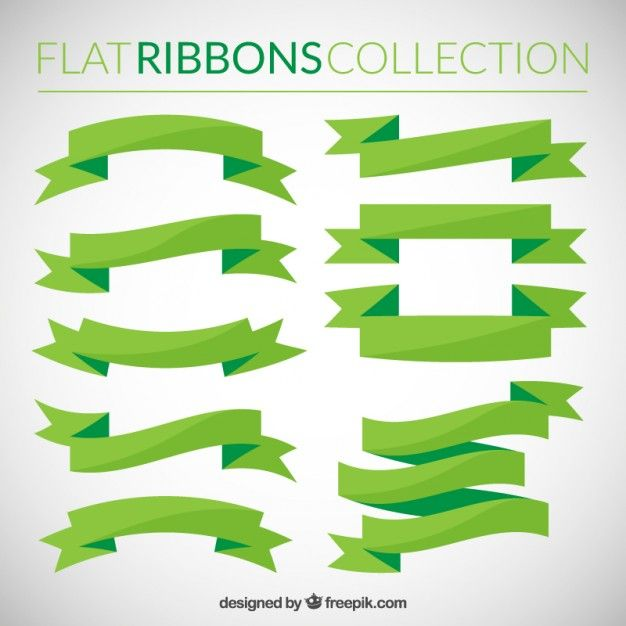 Free vector Flat ribbons collection in green tones #33258