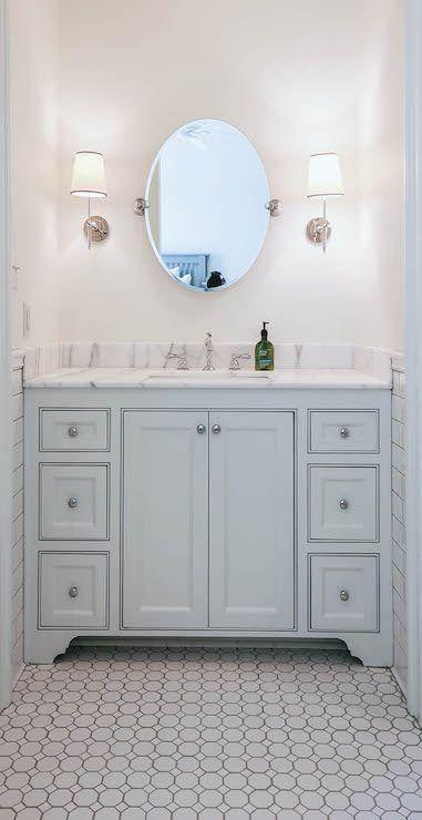 Light Blue Bathroom Vanity, Transitional, Bathroom, Telich Custom Homes