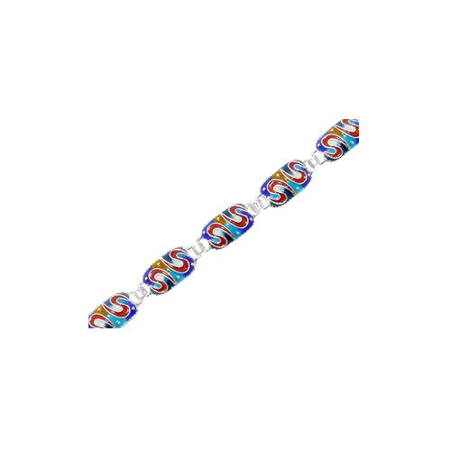 Cloisonne bracelet for action and courage in 925 sterling silver.