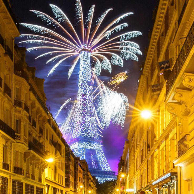 Fireworks on Eiffel Tower for Bastille Day in Paris -France