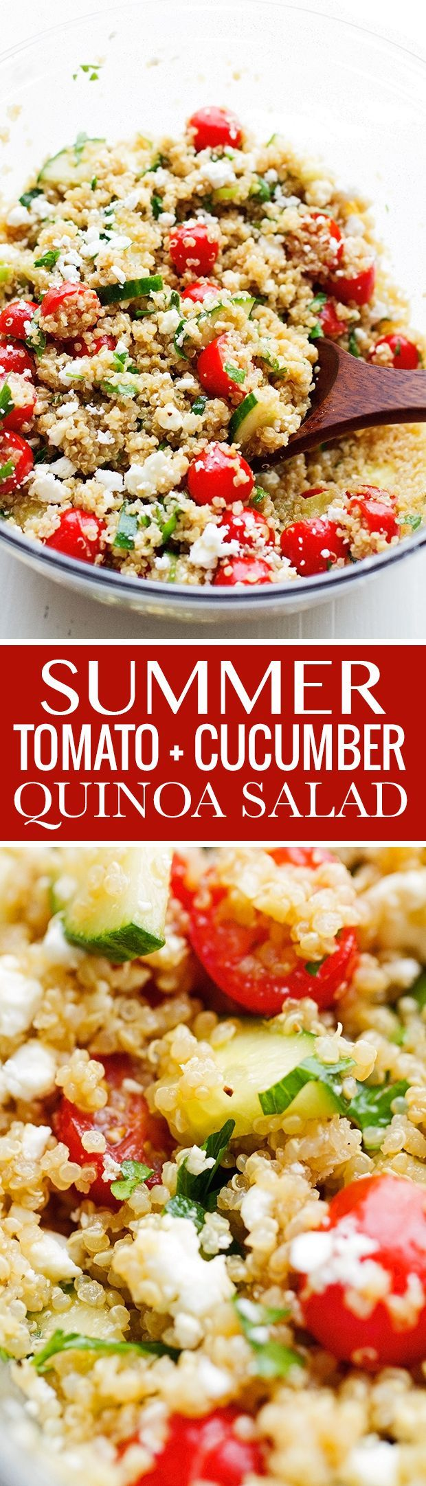 Summer Tomato and Cucumber Quinoa Salad - Try with a different dressing to omit the sugars. Littlespicejar.com @LittleSpiceJar