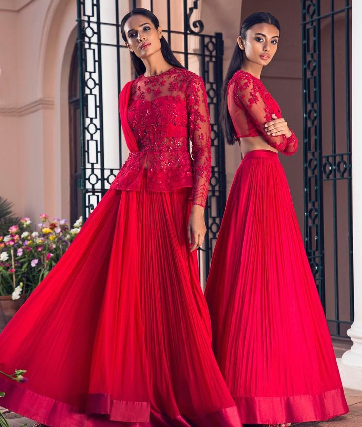 ridhimehraofficialZOYA - Scarlet red, embroidered flamingos, peplum lehenga on Rikee. ZINA - Scarlet red, embellished lehenga on Madhulika. MIRABELLA   Ridhi Mehra SS17 . Shop the collection at our flagship store in Chhattarpur, New Delhi. For appointments: +91-9818072244 Email at shop@ridhimehra.com to place your order. .