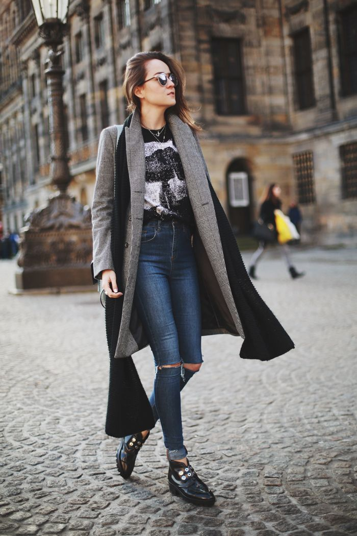 Andy in a grey coat, graphic tee, high waist ripped jeans & black shoes #style #fashion #stylescrapbook