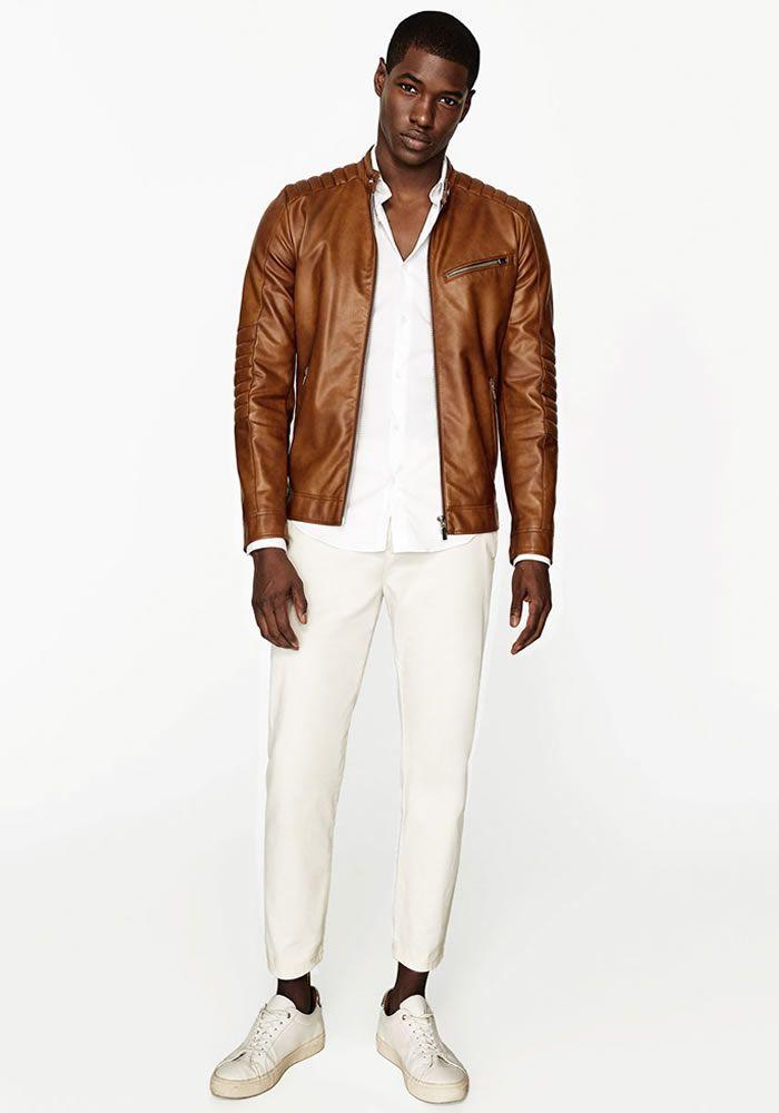 Today's Look: Leather Jacket. Photo: Zara. #ootd #menswear #mensfashion #mensstyle #instafashion #whitetrousers #leatherjacket