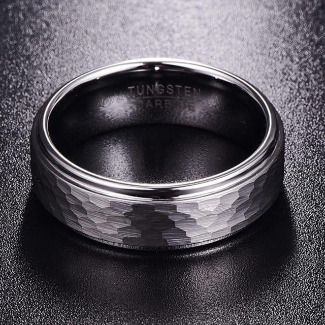 Tungsten Mens Ring Hammered Mens Wedding Band 8mm Size 7 12 Tungsten Mens Rings Rings For Men Mens Tungsten
