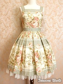 Innocent World / Jumper Skirt / Rococo Rose Border JSK  I'm too petite and curvy I think for such a large pattern but oh this style is lovely!