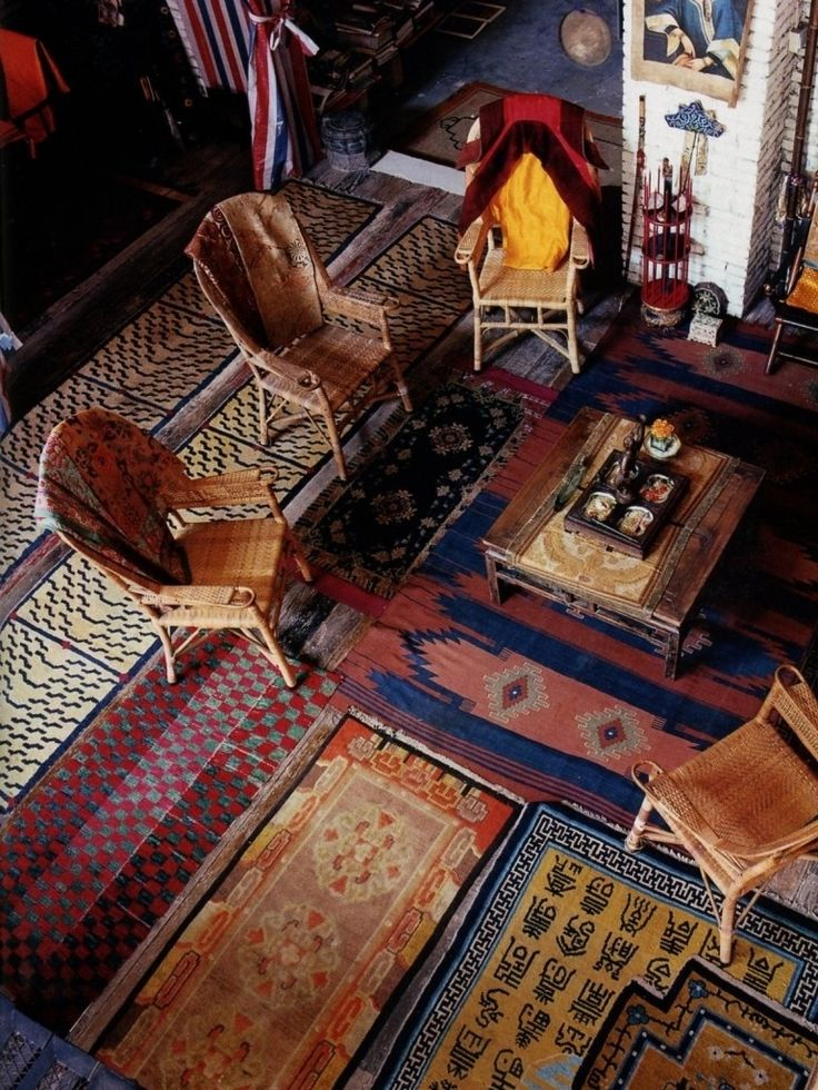 Lots of pretty little layered rugs!  36 Stunning Bohemian Homes You'd Love To Chill Out In