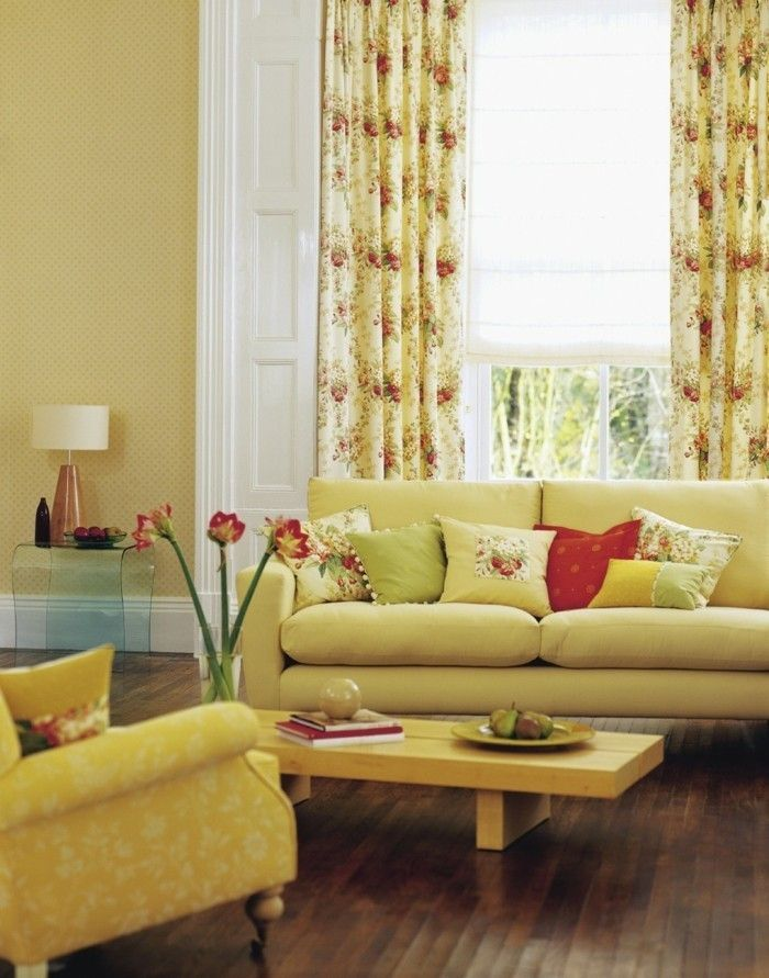 home furnishings living room yellow curtains floral design beautiful wallpaper