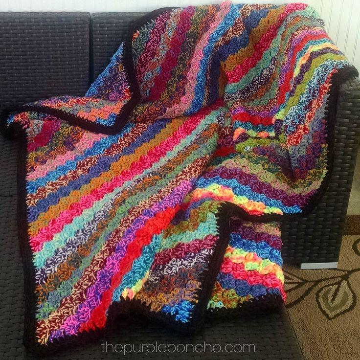 Crochet Corner-to-Corner Scrap Yarn Blanket – Free Pattern | The Purple Poncho