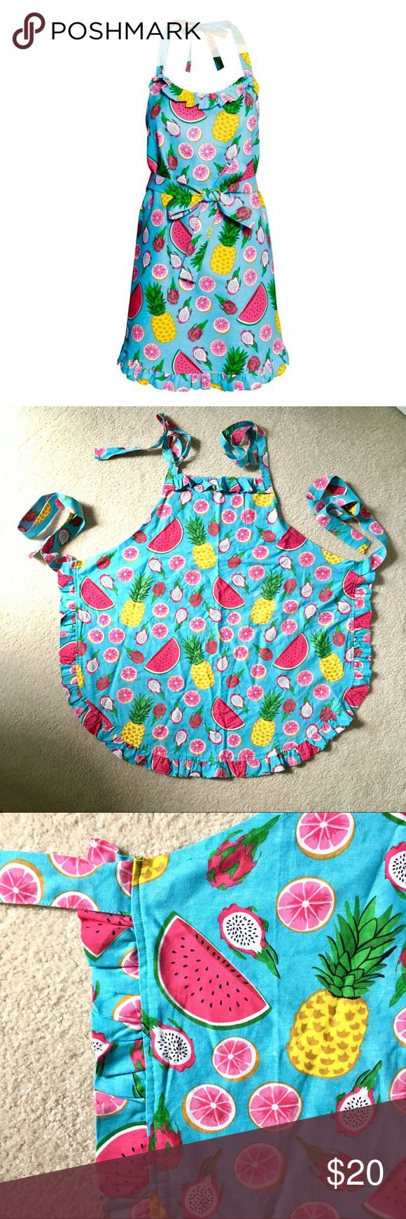 NEW 🍍 tropical fruit apron Tropical fruit patterned apron featuring watermelon, pineapple, dragonfruit, grapefruit. These colors really pop! Cute ruffle detail at the neck and hem. New without tags in perfect condition. H&M Other