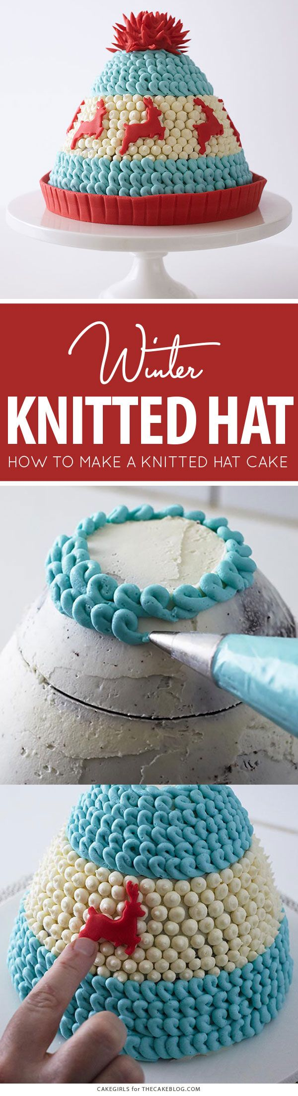 Winter Hat Cake - learn how to make this cozy cake that looks just like a knitted hat   by Cakegirls for TheCakeBlog.com