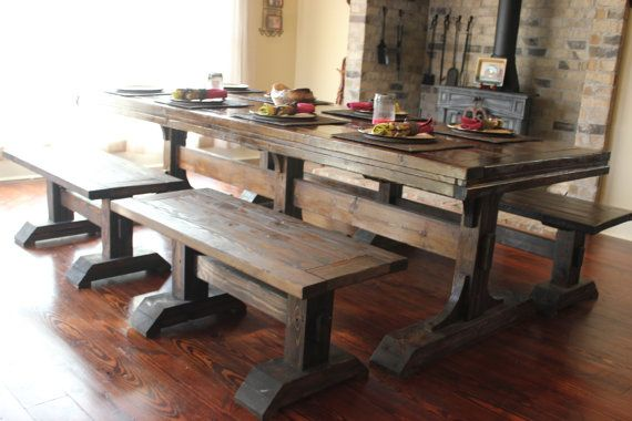 Handcrafted Farmhouse Dining Set with Table and 4 Benches - Solid Wood - 8 ft - Triple Pedestal or Trestle
