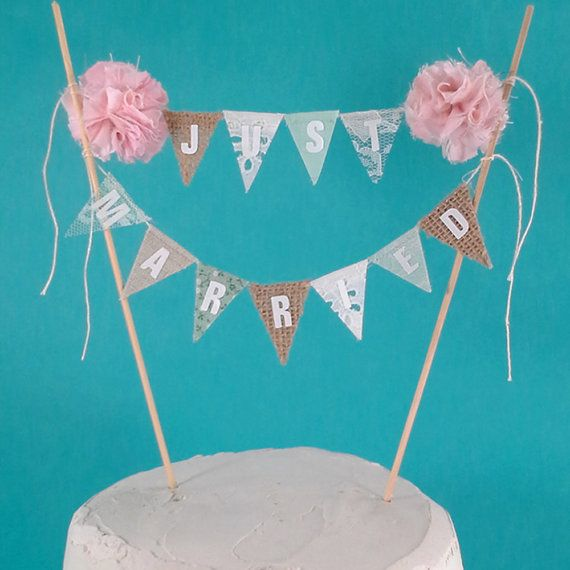 Mint Blush wedding Cake banner Burlap lace Mint  blush cake