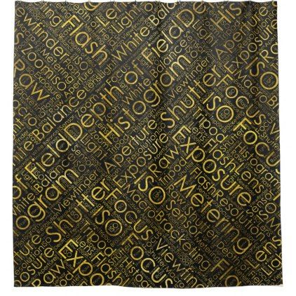 Photography Terms Word Cloud Pattern Gold on Black Shower Curtain - shower curtains home decor custom idea personalize bathroom