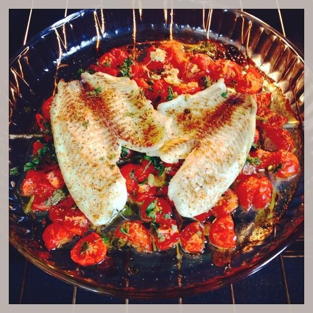Baked Flounder with Tomatoes and Basil Recipe - Bon Appétit