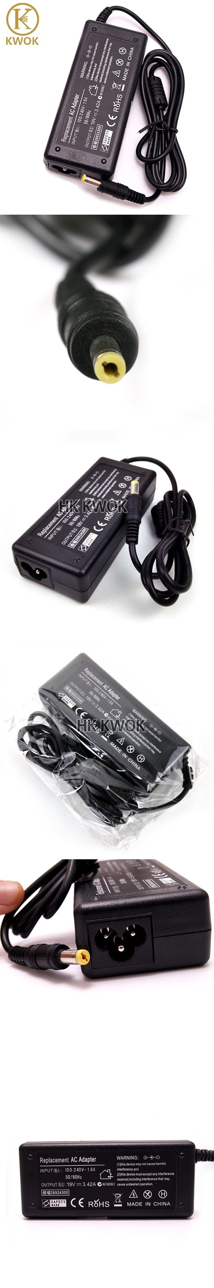 New 19V 3.42A 5.5x1.7mm AC Laptop Charger Adapter For Acer Aspire 5315 5735 5920 5535 5738 6920 7520 SADP-65KB Pa-1650-02 1690
