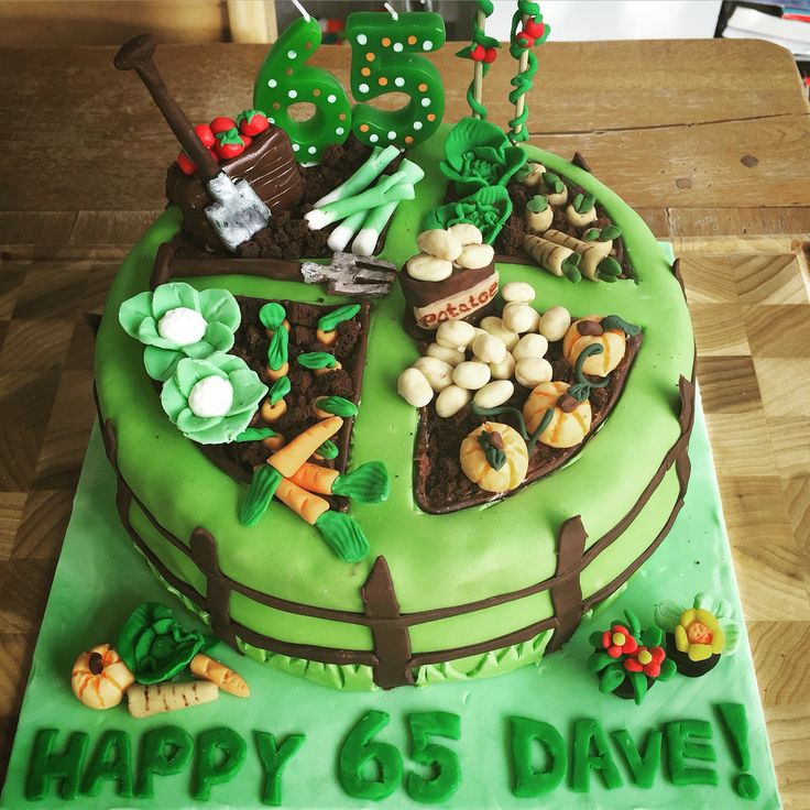 Retirement allotment cake modelled from fondant icing