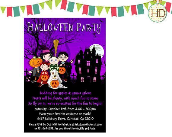 Purple Halloween Invitation Halloween Costume by HDInvitations