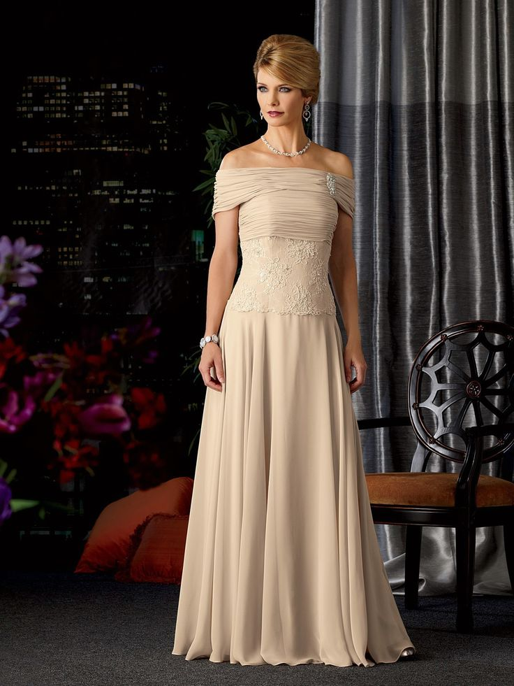 Simple Elegant Strapless Floor Length Chiffon A Line Mother Of The Bride Dress