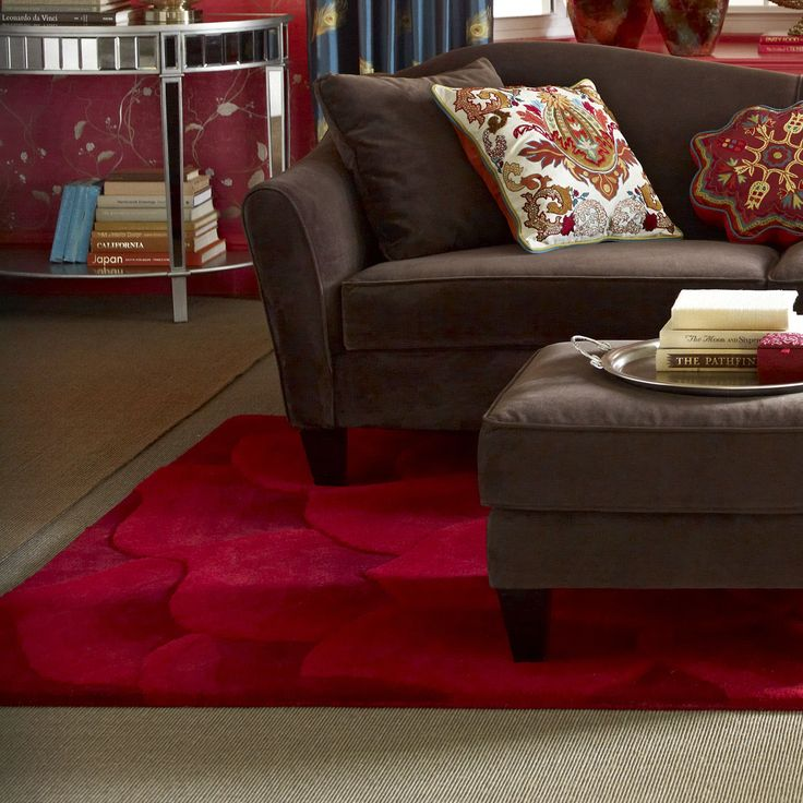 pier 1 living room rugs%0A Rose Tufted Red Rug  Rose PetalsPier