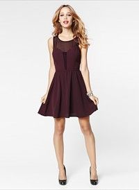 Flare Crepe Dress with Mesh #DYNHOLIDAY