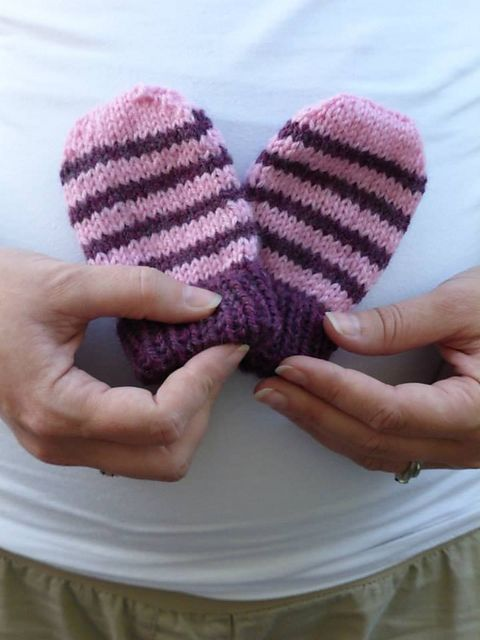 These tiny little mitts are especially for Lily, my new niece-to-be. They are worked from the bottom cuff up, and feature a simple stripe pattern and easy decrease shaping. Without thumbs, your tiny baby bee's whole hand will be encased in soft and snuggly warmth!