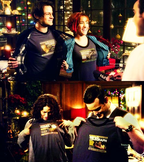 Lol. Shirts of the artifacts that almost killed them. Great presents :)