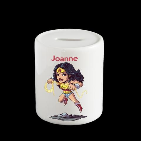 Personalised Wonder Woman Piggy bank