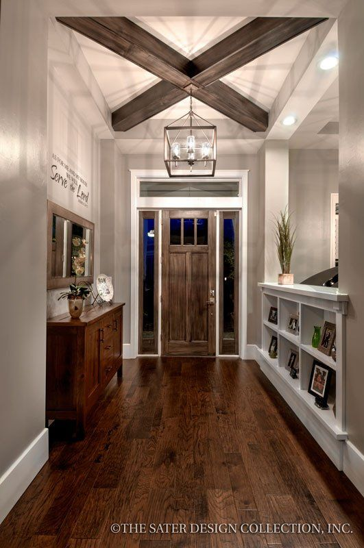 Prairie Pine Court Front Facade - Plan 7083 craftsman home plan- Love the crossed coffered ceiling idea. Think it would be beautiful in the living room. :)