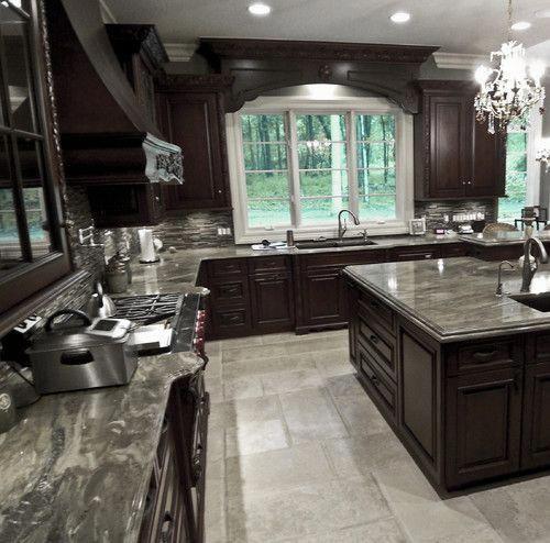 Dark Stain Cabinets, Backsplash, Window Valance