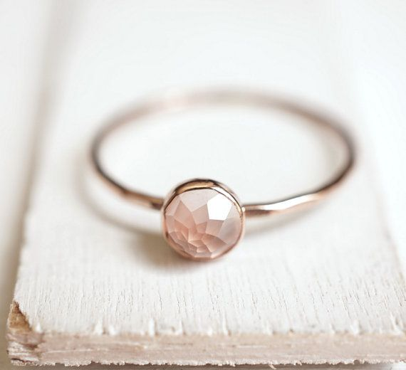 Rose Quartz Ring, Dainty Gold Ring, Stacking Ring, 14k Gold Ring, Rose Cut, Rose Gold Ring, Pastel Pink, Engagement Ring, gift for her I like how it's cut to be not focused in the center