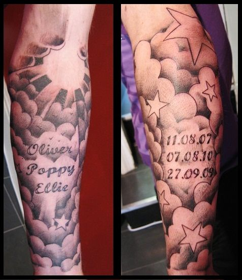 Half Sleeve Cloud Tattoo Designs