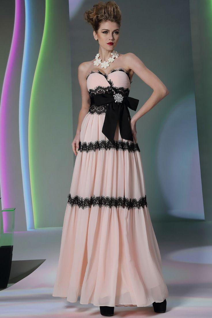 Strapless Chic Pink and Black Empire Waist Elegant Prom Dress