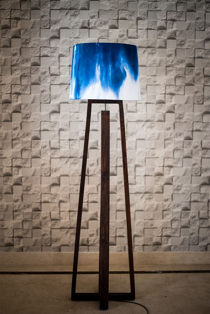 Modern Ombre Floor Blue Lamp Painting Lamp Shades Blue Floor Lamps Floral Lampshade