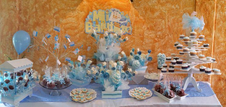 Mesa de dulces para bautizo mesas de postres pinterest - Como hacer centros de mesa con dulces para bautizo ...