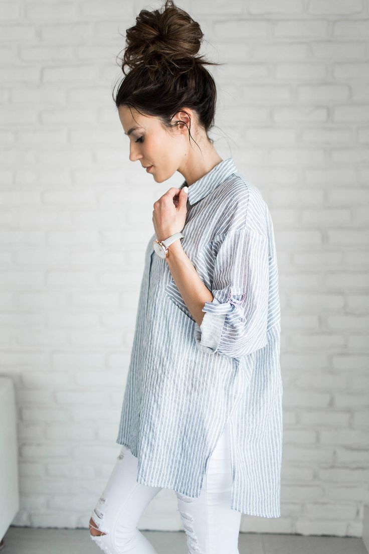 Stripe Top with White Distressed Denim and messy bun - spring style and outfit inspiration