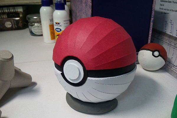 Pokemon - Pokeball Free Papercraft Download - http://www.papercraftsquare.com/pokemon-pokeball-free-papercraft-download.html#Pokeball, #Pokemon