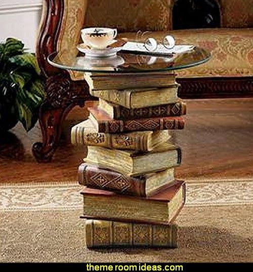 Power of Books Sculptural Glass-Topped Side Table