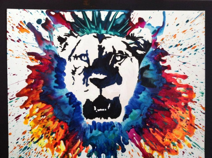 Lion picture using crayons